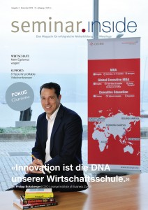 "Cover seminar.inside Nr. 4/16 Titelstory mit Dr. Philipp Boksberger, Lorange Institute of Business Zurich, Fokus ""Charisma"""